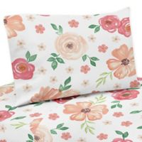 Sweet Jojo Designs Watercolor Floral Queen Sheet Set in Coral/White