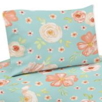 Sweet Jojo Designs® Watercolor Floral 4-Piece Queen Sheet Set in Peach/Turquoise