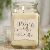 Personalized Mr. & Mrs. Vanilla Bean Candle Jar- Large