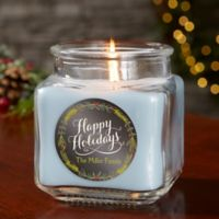 Happy Holidays Personalized Crystal Waters Candle Jar- Small