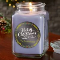 Happy Holidays Personalized Lilac Minuet Candle Jar- Large