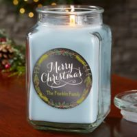 Happy Holidays Personalized Crystal Waters Candle Jar- Large