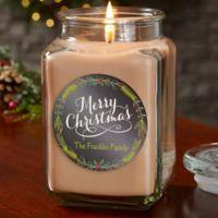 Happy Holidays Personalized Walnut Coffee Cake Candle Jar- Large