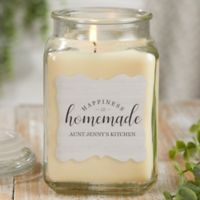 Happiness Is Homemade Personalized Vanilla Bean Candle Jar- Large