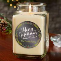 Happy Holidays Personalized Vanilla Bean Candle Jar- Large