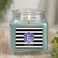 Modern Stripe Personalized Eucalyptus Spa Candle Jar- Small