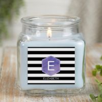 Modern Stripe Personalized Crystal Waters Candle Jar- Small