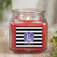 Modern Stripe Personalized Cinnamon Spice Candle Jar- Small