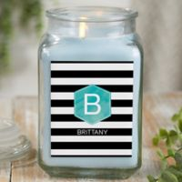 Modern Stripe Personalized Crystal Waters Candle Jar- Large