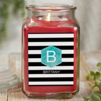 Modern Stripe Personalized Cinnamon Spice Candle Jar- Large