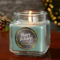Happy Holidays Personalized Eucalyptus Spa Candle Jar- Small