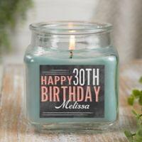 Vintage Birthday Personalized Eucalyptus Spa Candle Jar- Small