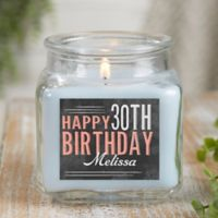 Vintage Birthday Personalized Crystal Waters Candle Jar- Small