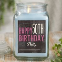 Vintage Birthday Personalized Crystal Waters Candle Jar- Large