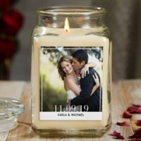 Our Wedding Photo Personalized Vanilla Bean Glass Candle Jar- Large