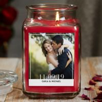 Our Wedding Photo Personalized Cinnamon Spice Glass Candle Jar- Large