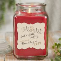 Mr. & Mrs. Personalized Cinnamon Spice Candle Jar- Large