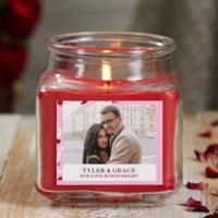 Sweethearts Personalized Cinnamon Spice Photo Candle Jar- Small