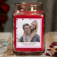 Sweethearts Personalized Cinnamon Spice Photo Candle Jar- Large