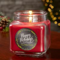 Happy Holidays Personalized Cinnamon Spice Candle Jar- Small