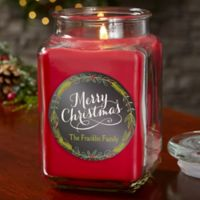 Happy Holidays Personalized Cinnamon Spice Candle Jar- Large