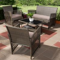Baxton Studio Arto 4-Piece Patio Set in Brown/Dark Brown