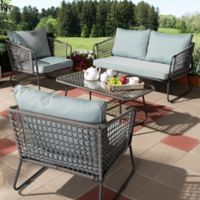Baxton Studio Divna 4-Piece Patio Set in Grey/Sky Blue