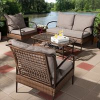 Baxton Studio Aldert 4-Piece Patio Set in Brown/Dark Brown