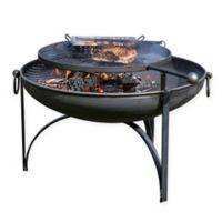Plain Jane 24-Inch Steel Fire Pit with BBQ Rack in Grey