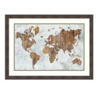 Amanti Art® Isabelle Z Map 34.25-Inch x 25.25-Inch Acrylic Framed Print in Brown
