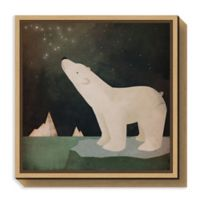 Amanti Art Constellations Polar Bear 16-Inch Square Framed Canvas Wall Art