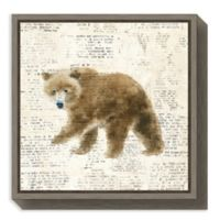 Amanti Arts Into the Woods Bear 16-Inch Square Framed Canvas Wall Art