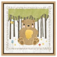 Amanti Art Woodland Hideaway Bear 16-Inch Square Framed Canvas Wall Art