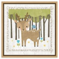 Amanti Art Woodland Hideaway Deer 16-Inch Square Framed Canvas Wall Art