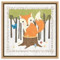 Amanti Art Woodland Hideaway Fox 16-Inch Square Framed Canvas Wall Art