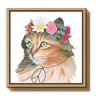 Amanti Art Cattitude I 16-Inch Square Framed Canvas Wall Art