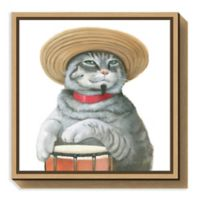 Amanti Art Cattitude II 16-Inch Square Framed Canvas Wall Art