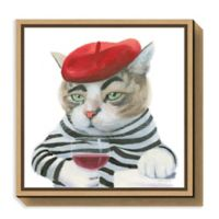 Amanti Art Cattitude III 16-Inch Square Framed Canvas Wall Art