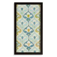 Blue/Green Ikat Flowers Shadowbox Wall Art