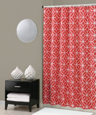 Red Curtains coral colored curtains : Buy Coral Fabric Shower Curtains from Bed Bath & Beyond