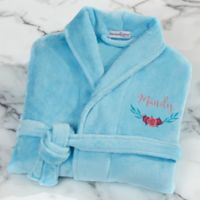 Floral Embroidered Short Fleece Robe