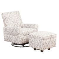 Abbyson Living Grace Swivel Glider Chair and Ottoman Set in Grey/White