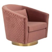 Safavieh Clara Quilted Swivel Tub Chair in Rose