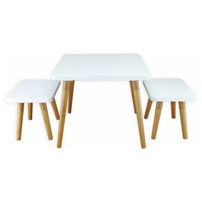 American Trails® Easel 3 Piece Kids Table And Chair Set In White/Natural