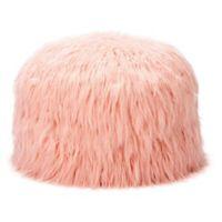Mimish® Himalaya Faux Fur Storage Pouf in Dusty Blush