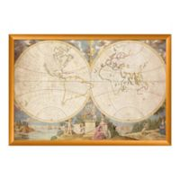 PTM Images European Heritage Map 51-Inch x 35-Inch Print Wall Art in Gold