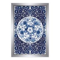 PTM Images Blue Floral Circle Framed Wall Art