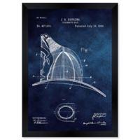 Oliver Gal™ Fireman's Hat 1889 Blueprint 15-Inch x 18-Inch Framed Wall Art