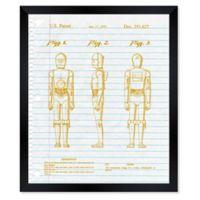 Oliver Gal™ Robots Best Friend Notebook Blueprint 26-Inch x 32-Inch Framed Wall Art