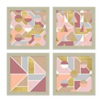 Pink & Gold Abstract 15-Inch Square Framed Wall Art (Set of 4)